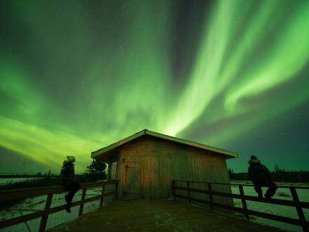 Northern lights over Nanuk Polar Bear Lodge - Churchill Wild