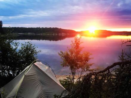 Watching the sunset from the tent at Atikaki Provincial Park