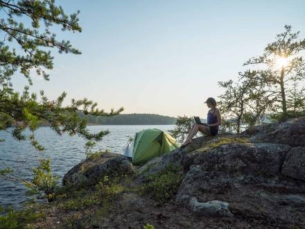 Camping on the shore at Nopiming Provincial Park