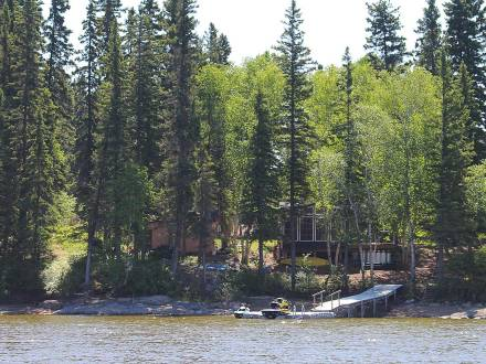 Looking at the tree-lined shore of beautiful Paint Lake